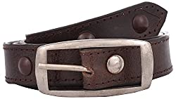 Exotique Women's Leather Belt (BW0005BR_36_Brown)