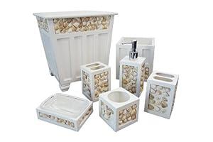 Screen gems sgt41 6 piece seashell bath for Seashell bathroom set
