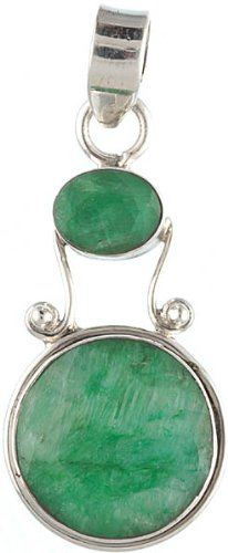 Faceted Emerald Pendant - Sterling Silver