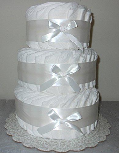 Decorate It Yourself 3 Tier Plain Diaper Cake 75 Diapers (Wide Diaper Cake)