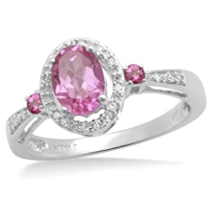 10k White Gold Oval and Round Created Pink Sapphire and Diamond Ring (1/12 cttw, J-K Color, I2-I3 Clarity) from Amazon Curated Collection