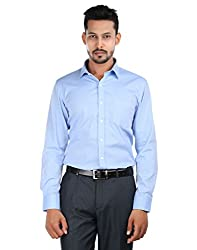 Oxemberg Men's Solid Formal 100% Cotton Baby Blue Shirt