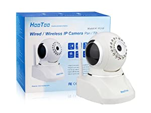 (Hot Sale) HooToo® HT-IP210F IP Wired/Wireless Network IP Camera, Motorized Pan/Tilt Viewing Angle (Horizontal: 320° & Vertical: 120°) Wi-Fi Connection, Two-way Audio Communication, Upgraded Night Vision with 16 Built-in IR Illuminators, IR Cut Filter Eliminates Washed-Out or Unreal Colors, Software Supports Up To 64 Expandable Cameras, Remote Control From Smart Phone, Tablet or Computer, White