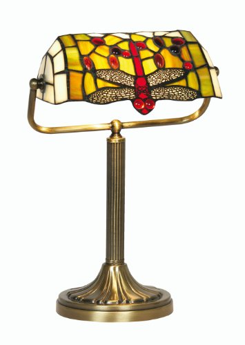 Oaks Lighting Dragonfly Tiffany Bankers Lamp