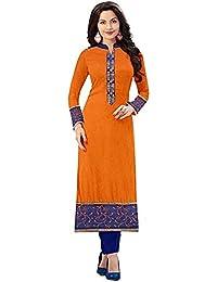 Om Sai Fashion Women's Cotton Kurti (Om1003_Orange_long Kurta)