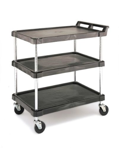 Metro BC Series Polymer Utility Cart with 4 Swivel Casters, 3 Lipped Shelves, 400 lb. Total Capacity, 33-1/4