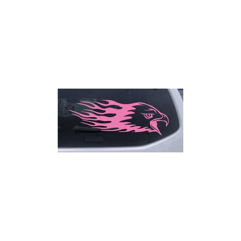 Pink 14in X 4.9in    Flaming Eagle Head Car Window Wall Laptop Decal Sticker