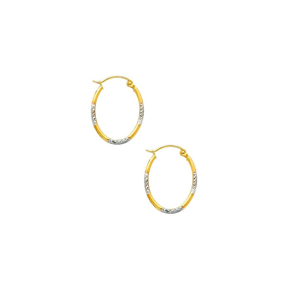 14K Yellow and White 2 Two Tone Gold Diamond Cut Tube Oval Hoop Earrings (0.5 or 13mm Diameter)