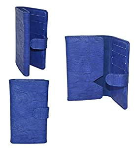 Generic Premium Leather Fabric Card Holder Pouch for - HTC Desire U - BLUE - CHPBL45#0433DR