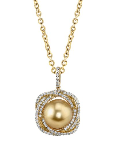 Golden South Sea Pearl & Diamond Braided Pendant in 14K Gold