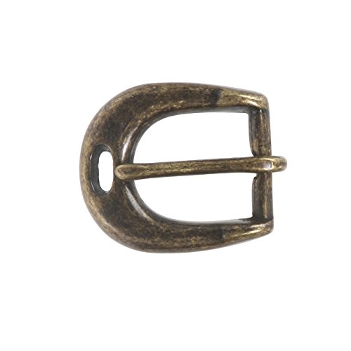 "3/4"" (19 mm) Single Prong Solid Brass Horseshoe Belt Buckle Color: Antique Brass"