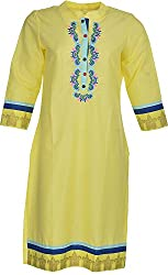 Artisan Women's Cotton Straight Kurta (CZF10045_L, Yellow, L)