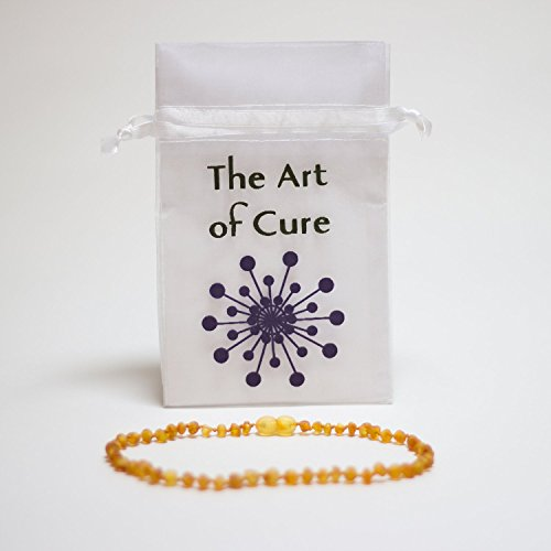 The Original Art of CureTM *SAFETY KNOTTED* RAW HONEY- Baltic Amber Baby Teething Necklace w/The Art of CureTM Pouch - 1