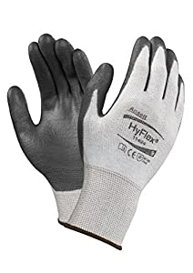 Ansell HyFlex 11-624 Dyneema/Lycra Glove, Cut Resistant, Black Polyurethane Coating, Knit Wrist Cuff, Large, Size 9 (Pack of 12 Pairs)