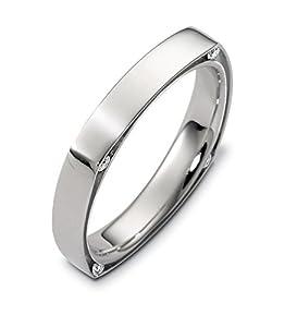 Mens Platinum, Square Dia. Accent 4MM Wedding Band, 1/10 cttw