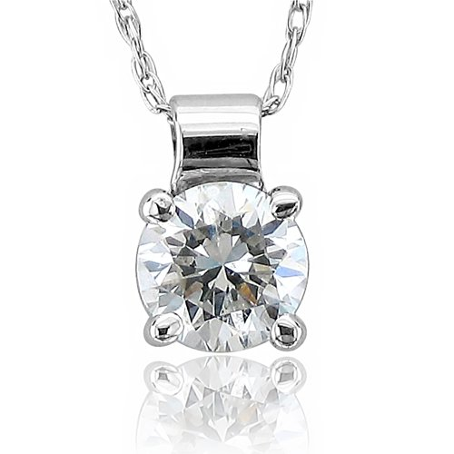 14k White Gold Solitaire Diamond Pendant Necklace (HI, I, 0.33 carat)