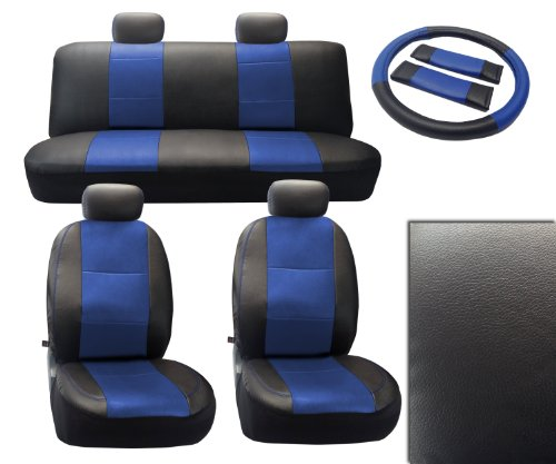 Black/Blue Deluxe Leatherette 13Pc Full Car Seat Cover Set Premium Synthetic Leather With Tan Stitching - Low Back Front Bucket Seats - Rear Bench - Steering Wheel Set - 4 Headrests