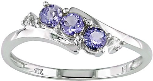 10K White Gold .018 ctw Diamond and Tanzanite Ring