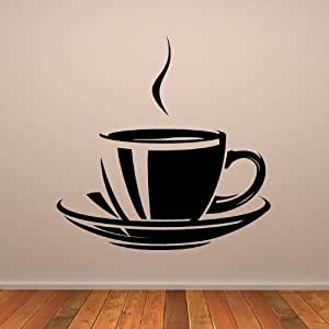 Coffee tea cup wall art sticker 39 01 vinyl sticker wall for Tea and coffee wall art