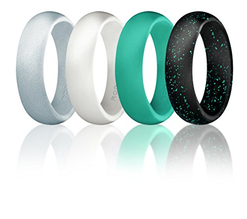 Silicone Wedding Ring For Women By ROQ, Set of 4 Silicone Rubber Wedding Bands - Black with Glitter Sparkle Teal, Teal Turquoise, White, Metal Look Silver - Size 7