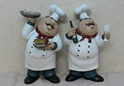 Fat Chef Kitchen Set Figures Table Art Statue Bistro Cooking D64118