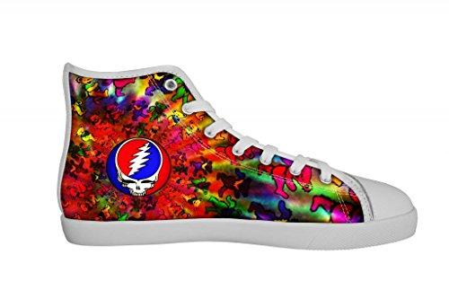 Rock Band Grateful Dead Men's Canvas Shoes Men White High Top Canvas Shoes-7M US