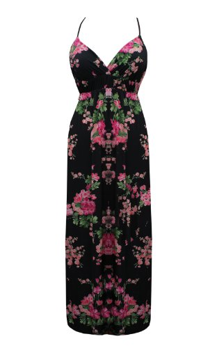 Black Butterfly Womens Black And Pink Strappy Flower Print Maxi Dress