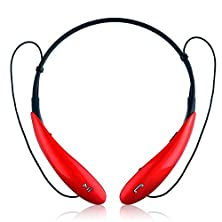 buy Wireless Bluetooth Headset, 3C Mall Wireless Music A2Dp Stereo Bluetooth V4.0 Headset Earphone Headphone With Universal Vibration Memory Flexible Lightweight Neckband Design For Cellphones (Red)