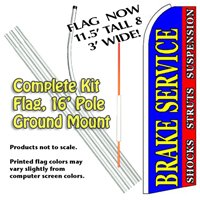 Brake Service Feather Banner Flag Kit (Flag, Pole, & Ground Mt)