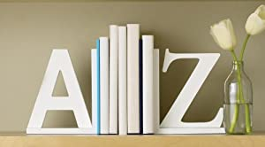 Design Ideas A to Z Bookends, White