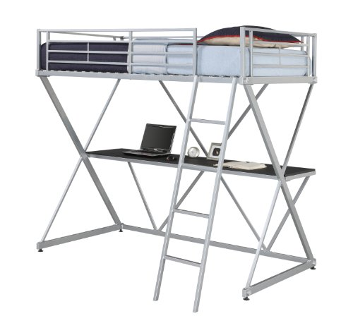Metal loft beds with desk underneath - Loft bed met opbergruimte ...