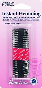 Hemline Instant Fusible Iron On Hemming Tape for Hems Black