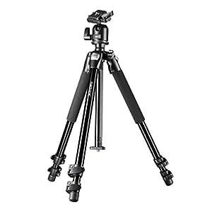 Mantona Pro Makro II Dreibeinstativ (inkl. Kugelkopf, Bodenadapter für Makrofotografie, Tragkraft 5kg)