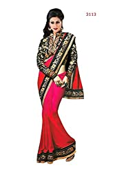 Bikaw Embroidered Red Chiffon Party Wear Saree - BT-3113-KH