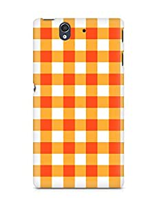 Amez designer printed 3d premium high quality back case cover for Sony Xperia Z (Orange n White Pattern1)