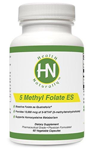 5 Methyl Folate ES - 60 Vegetable Capsules | Provides 10,000 mcg of 5-MTHF (as 5-methyltetrahydrofolate) *per serving | Bioactive Folate as Quatrefolic | Pharmaceutical Grade