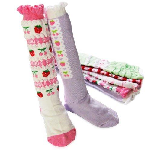 KF Baby Girl Cozy Soft Knee High Socks Set of 5 Pairs