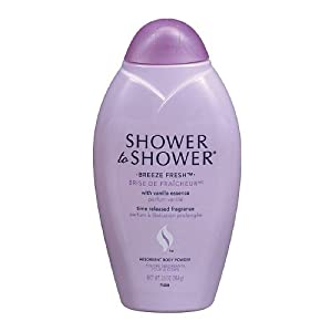 Shower to Shower Absorbent Body Powder, Breeze Fresh with Vanilla Essence, 13-Ounce Bottles (Pack of 2)