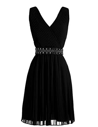 Dressystar Ruched V-neck Prom Party Gown Short Bridesmaid