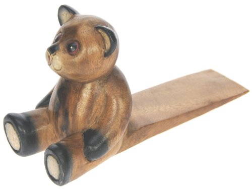 Door Stop : Teddy Bear : Hand Carved Wood : Traditional Quality Hand Crafted Wooden Animal Doorstop Gift Idea : Perfect Christmas Present For The Home : Suitable For Mum, Dad, Mother, Father, Men, Women, Her, Him, Grandma, Grandad (Approx Length 21Cm)