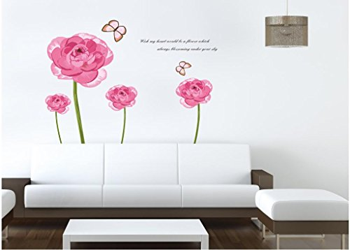 Apexshell (Tm) Cartoon Big Pink Flowers Removable High Quality Decorate Wall Decal Sticker Decor For Kids, Home, Nursery Room, For Children'S Bedroom front-588199