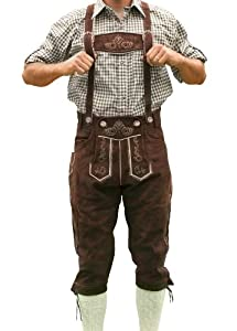 Bavarian Tracht Lederhosen HANS, Bavarian Clothing - 38 - Dark brown