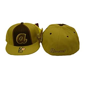 Atlanta Braves MLB Tan and Chocolate Cooperstown Collection Fitted Baseball Hat Cap by American Needle