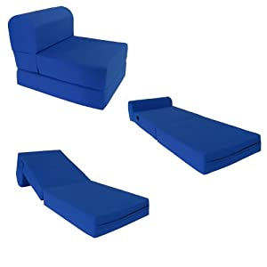 Royal Blue Sleeper Chair Folding Foam Bed Sized 6 Thick X 32 Wide X 70 Long