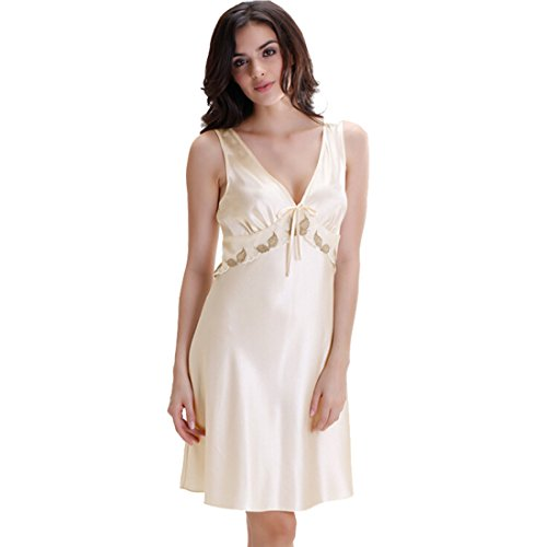 My Sky Women's Classic Satin Chemise Embroidery Nightgown ...