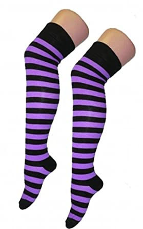 Striped Black And Purple Over The Knee Socks