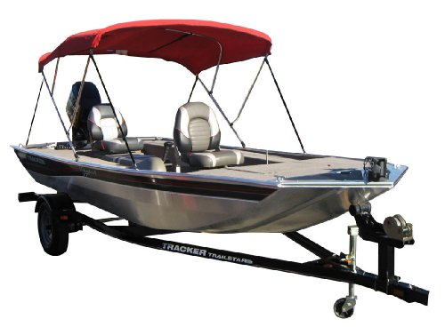Image of WCI Premium All Weather Bimini Boat Top 3 Bow For Standard Craft, Fishing Boats, Speed Boats, Etc. - Treated Canvas Canopy, Metal Frame And Mounting Hardware - 72