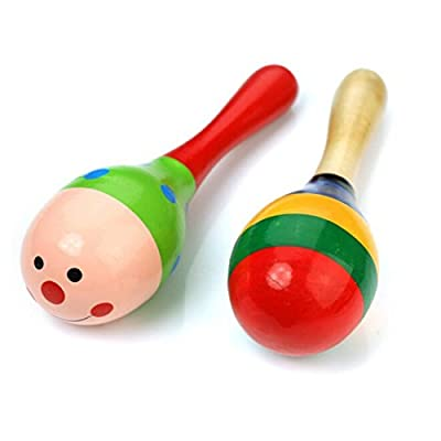 KINGSO 2pcs Wooden Maraca Rattles Shaker Percussion Kid Baby Musical Toy Favor Gift