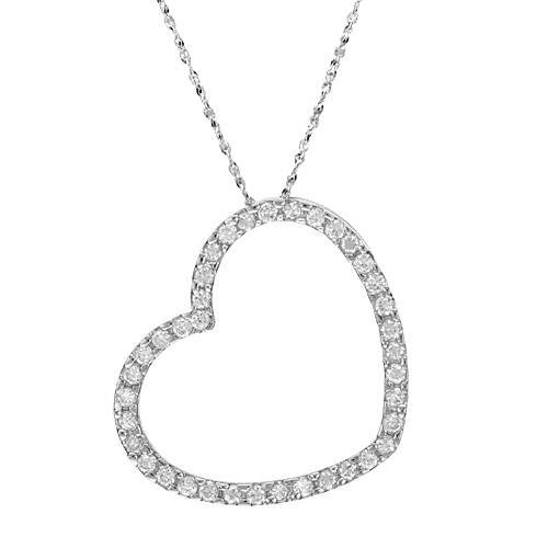 Sterling Silver 1.9 CTW Cubic Zirconia Heart Ladies Necklace. Length 15.5 in. Total Item weight 2.6 g.