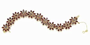 Gioie Women's Bracelet in Yellow 18k Gold with Red Cubic Zirconia, Cm 19, 41 Grams